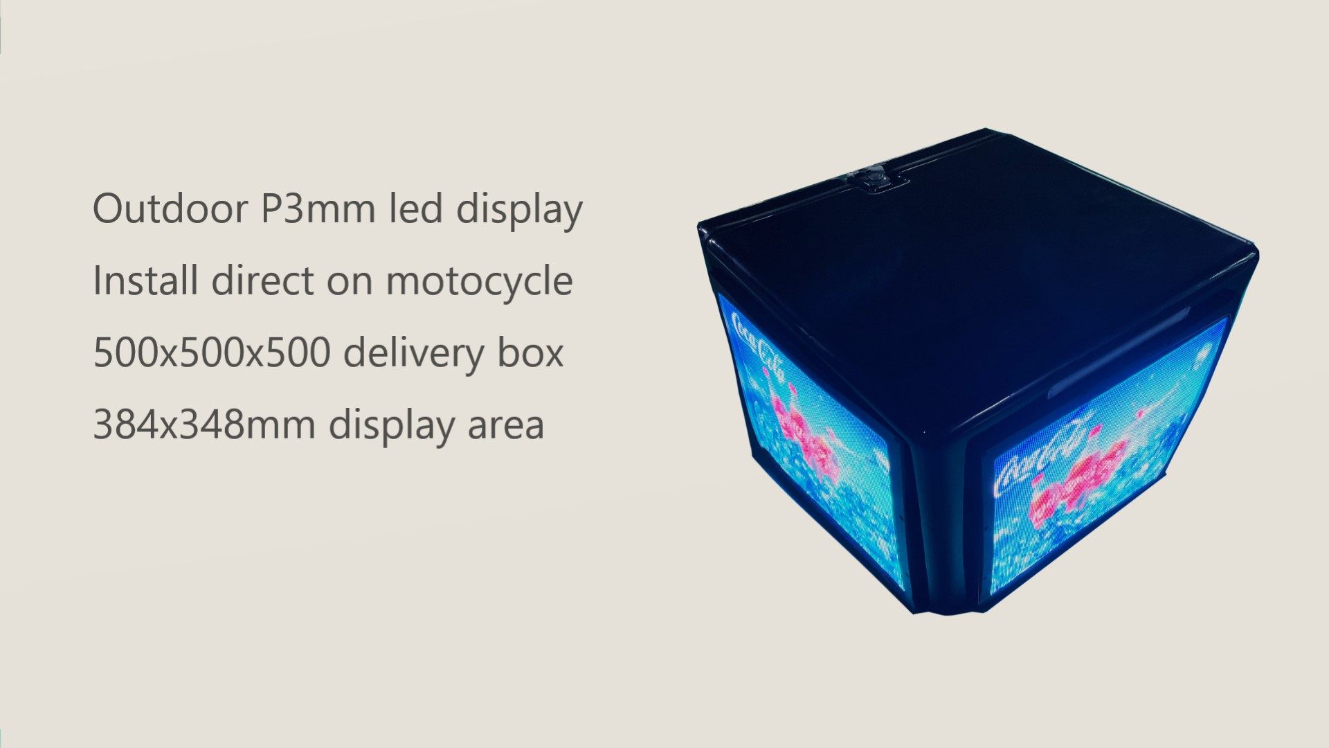 Outdoor P3mm led display delivery box for motocycle