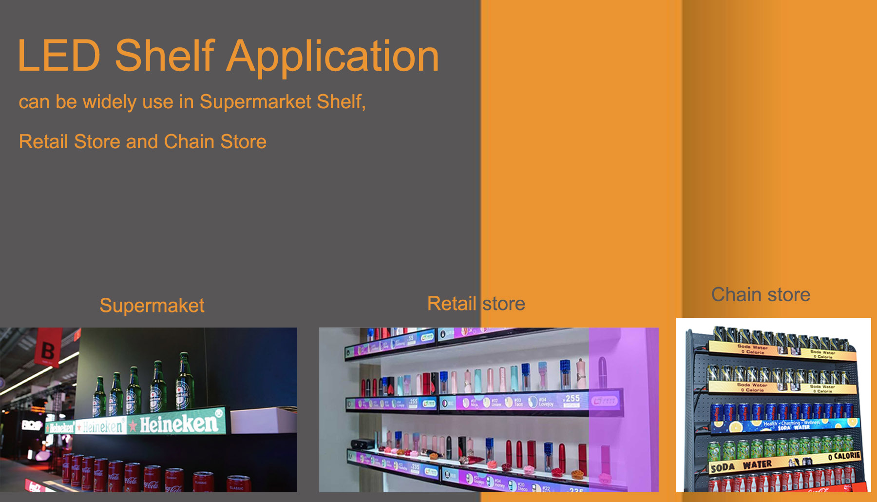 SoStron LED Shelf application in retail store,shopping mall