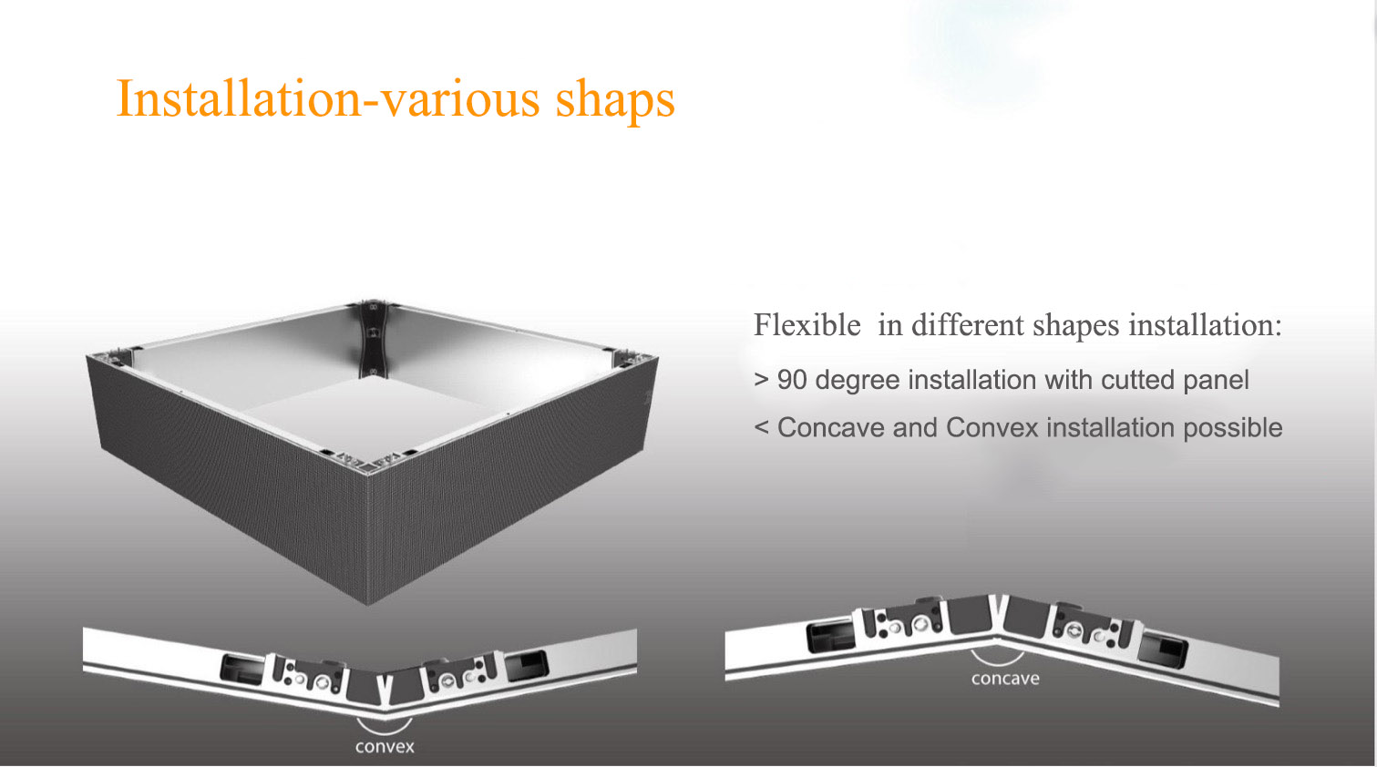 Indoor sTile cube screen with 90 degree -SoStron